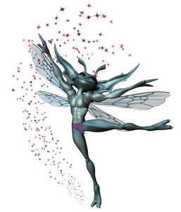 A blue pixie dances in a shower of purple sparkles