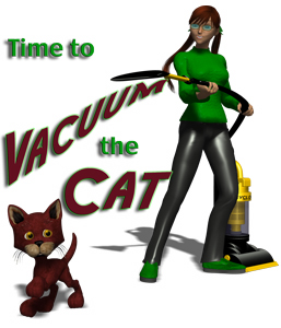 A woman in glasses confronts a dubious cat with her vacuum cleaner